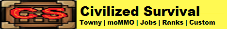Civilized Survival  Towny  mcMMO  Jobs  Ranks